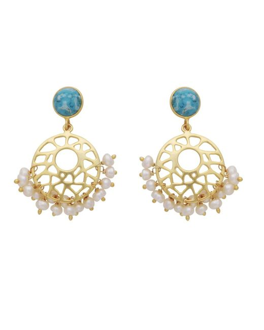 Carousel Jewels - Metallic Pearl Cluster & Turquoise Earrings - Lyst