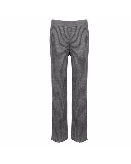 NY CHARISMA Gray Grey Ribbed Pants