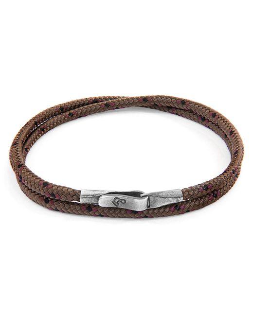 Anchor & Crew - Dark Brown Liverpool Silver & Leather Bracelet - Lyst
