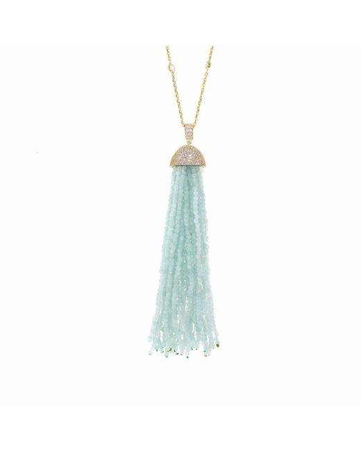Cosanuova - Metallic Aqua Tassel Necklace - Lyst