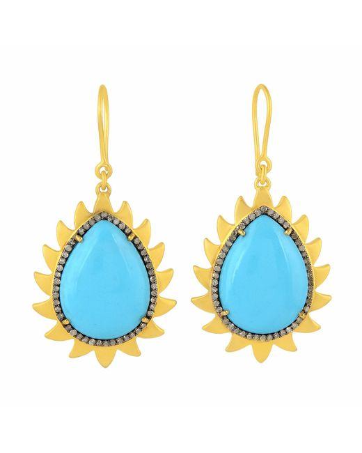 Meghna Jewels - Blue Flame Earrings Turquoise & Diamonds - Lyst