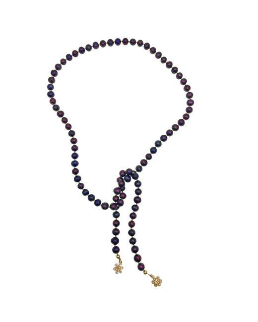 Farra Multicolor Deep Purple Pearls Open Ended Necklace