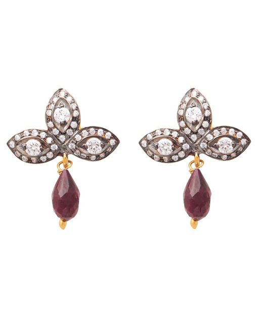 Carousel Jewels White Crystal Quartz And Garnet Drop Earrings