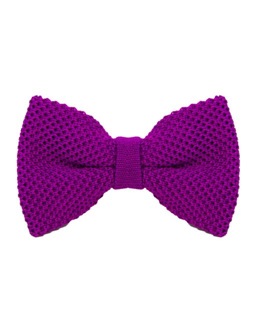 40 Colori - Purple Solid Silk Knitted Bow Tie for Men - Lyst