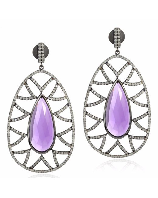 Meghna Jewels - Multicolor Bora Bora Earrings Amethyst & Diamonds - Lyst