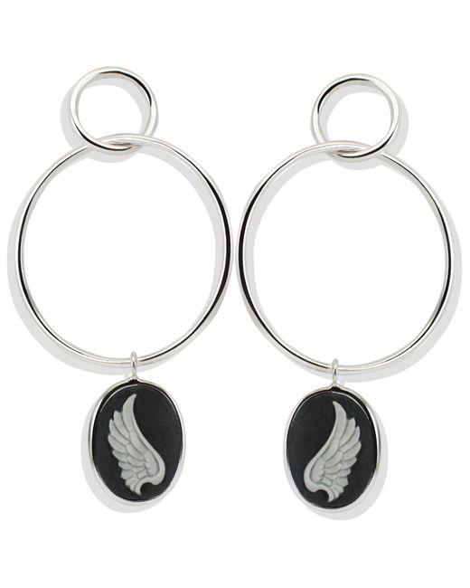 Vintouch Italy - Black Wings Hoop Earrings - Lyst