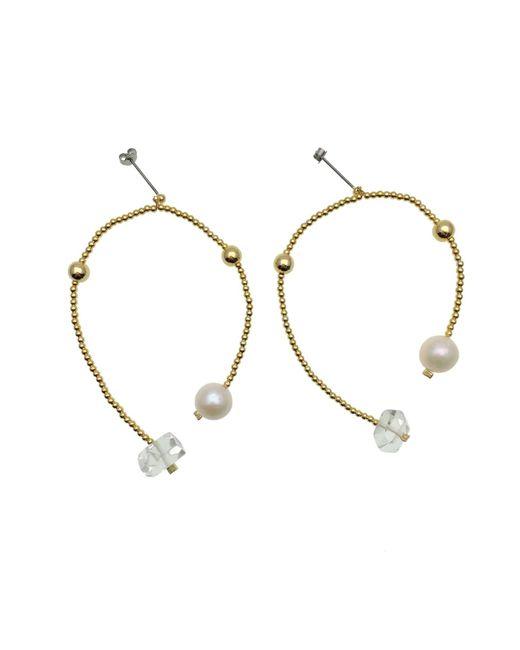 Farra Freshwater Pearl & White Quartz Earrings