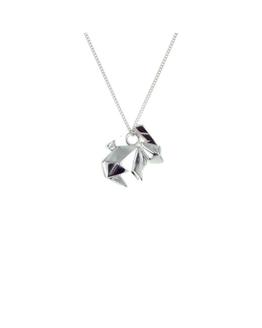 Origami Jewellery - Metallic Mini Rabbit Necklace Silver - Lyst