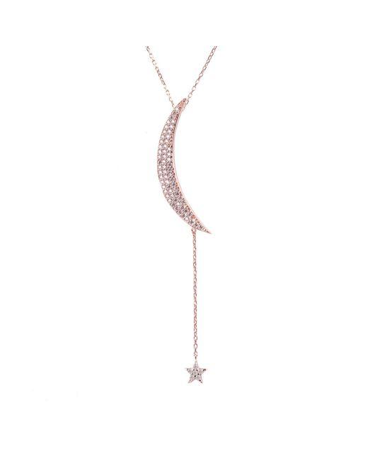 Latelita - Large Moon & Star Necklace Rosegold White Cz - Lyst