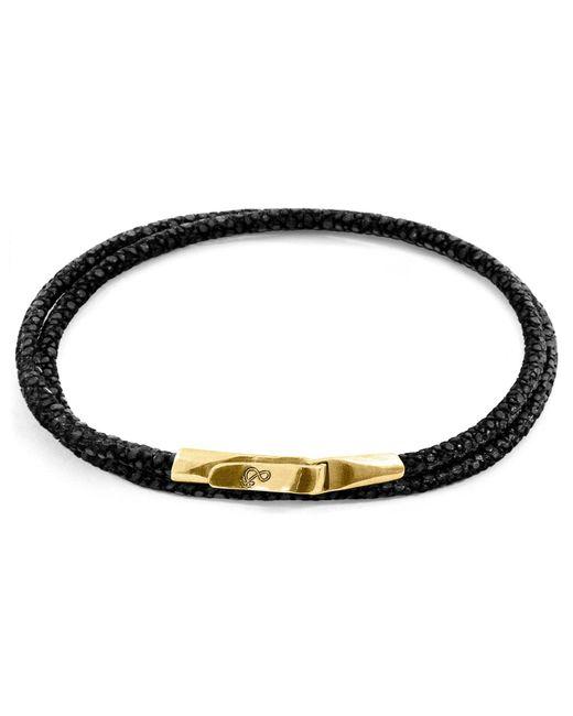 Anchor & Crew - Metallic Raven Black Liverpool Yellow Gold & Stingray Leather Bracelet for Men - Lyst