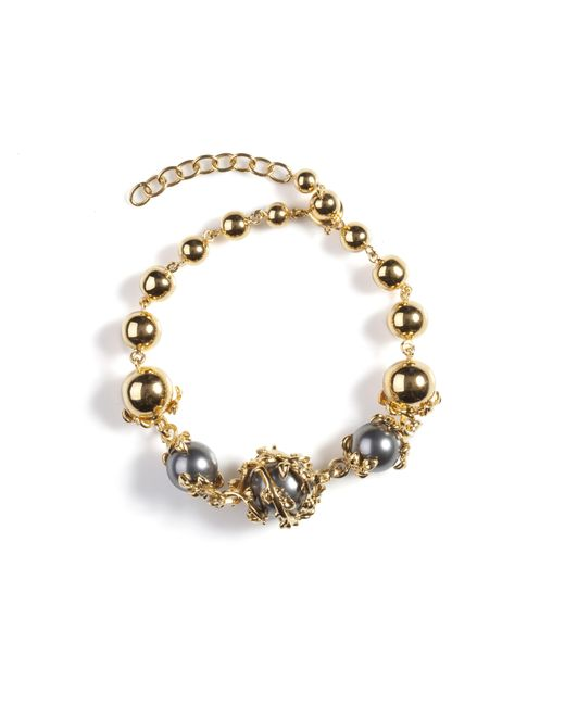 Kasun Metallic Orb And Three Pearls Bracelet