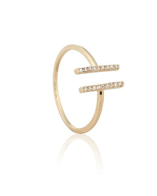 Astrid & Miyu - Metallic Chase Me Double Bar Ring In Gold - Lyst