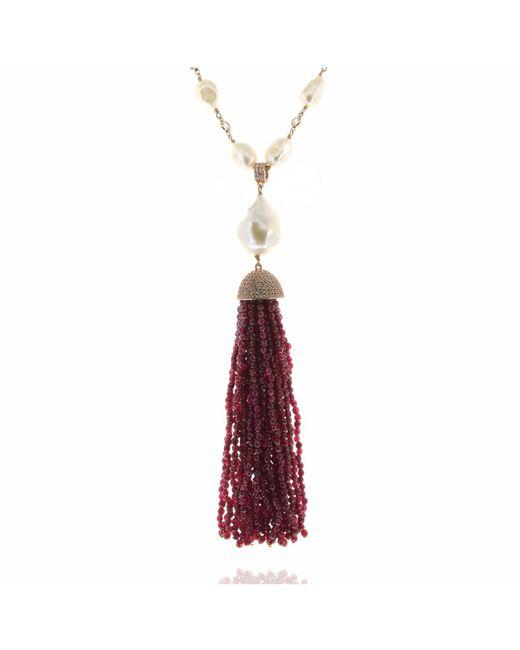 Cosanuova Pearl & Red Jade Tassel Necklace