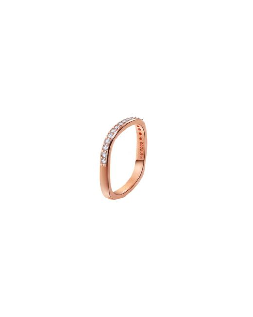Opes Robur - Metallic Rose Gold Plated Silver Stacking Ring With Man-made Diamonds - Lyst