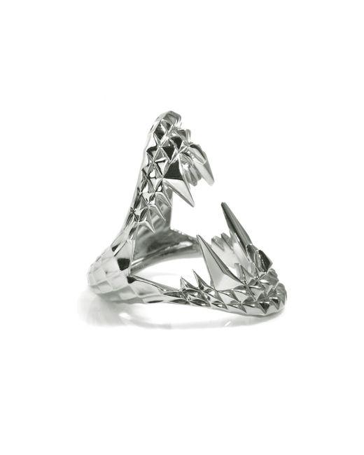 Kasun Metallic Vampire Bite Ring Silver