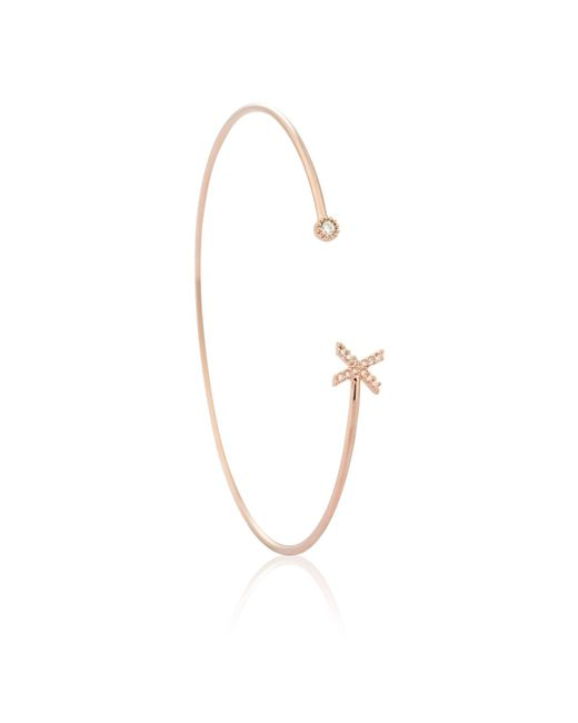 Astrid & Miyu - Multicolor Rose Gold Initial 'x' Bangle - Lyst