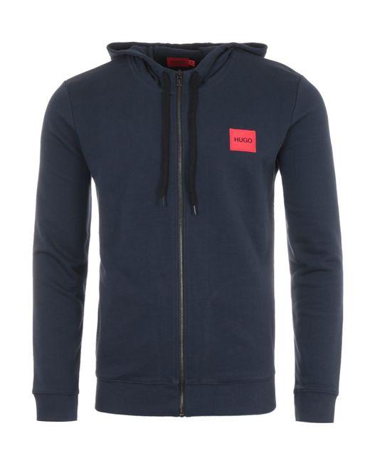 HUGO Blue Logo Patch Sustainable Zip Hooded Sweatshirt - Navy for men