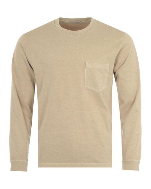 Nudie Jeans Natural Rudi Long Sleeve Pocket T-shirt - Oat for men