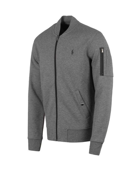 lyst polo ralph lauren grey heather sweat bomber jacket. Black Bedroom Furniture Sets. Home Design Ideas