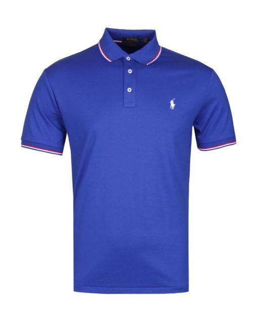 8c0154704 Polo Ralph Lauren - Custom Slim Fit Royal Blue Pima Polo Shirt for Men -  Lyst ...