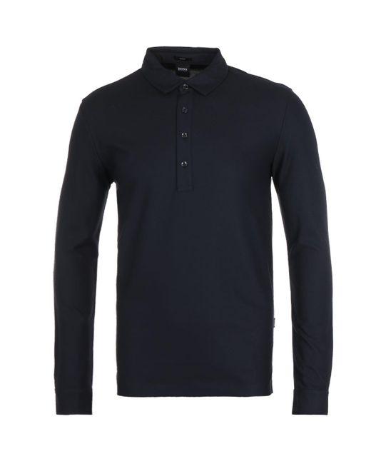 Hugo Boss Paver 12 Slim Fit Mercerised Navy Long Sleeve Polo