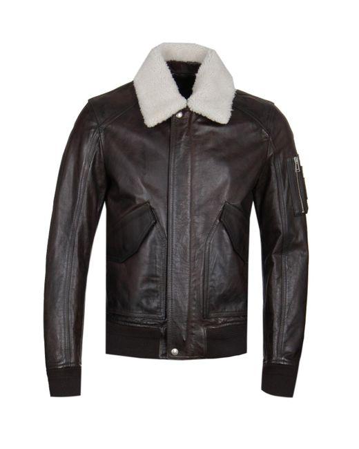 Belstaff - Arne Brown Calf Leather Bomber Jacket for Men - Lyst