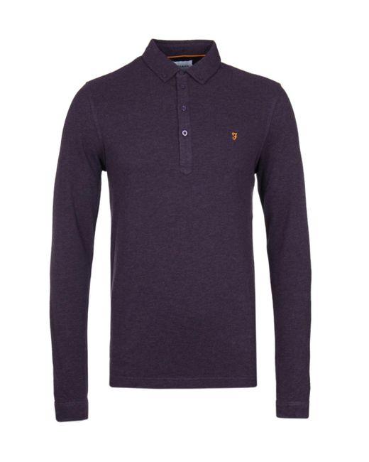 Lyst farah merriweather button down dark damson marl for Long sleeve purple polo shirt