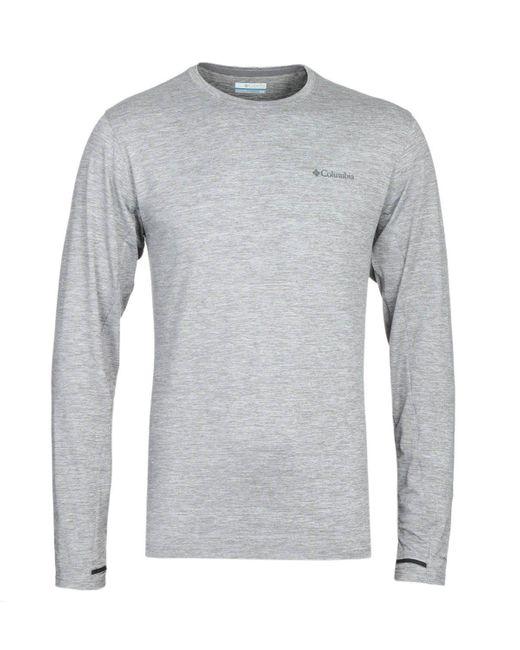 Columbia Gray Tech Trail Grey Heather Long Sleeve T-shirt for men