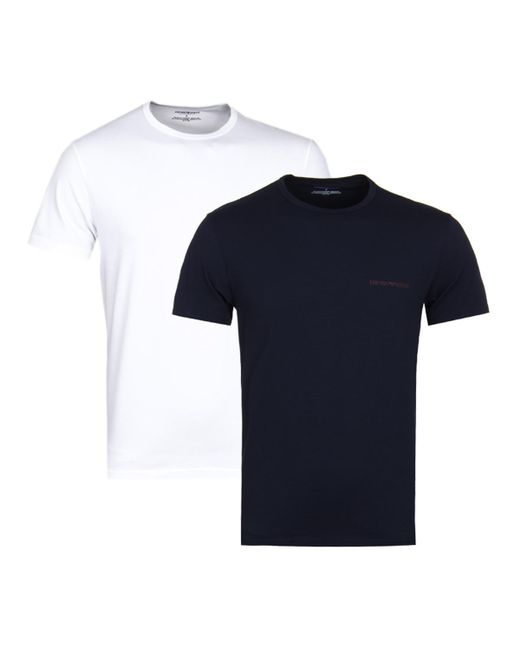 fc35ff2c9 Emporio Armani - 2 Pack White & Navy Stretch Cotton T-shirts for Men ...