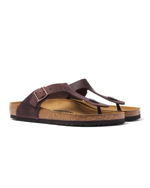 69510cdfb08b Lyst - Birkenstock Brown Leather Gizeh Sandal in Brown for Men
