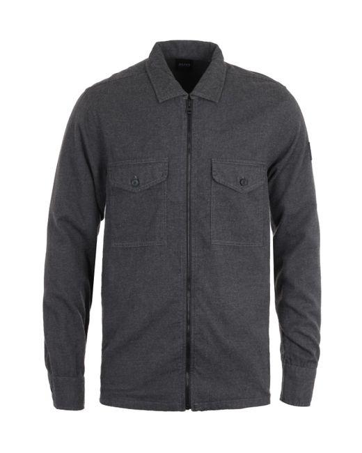BOSS by Hugo Boss Gray Lom Zip Dark Grey Overshirt for men