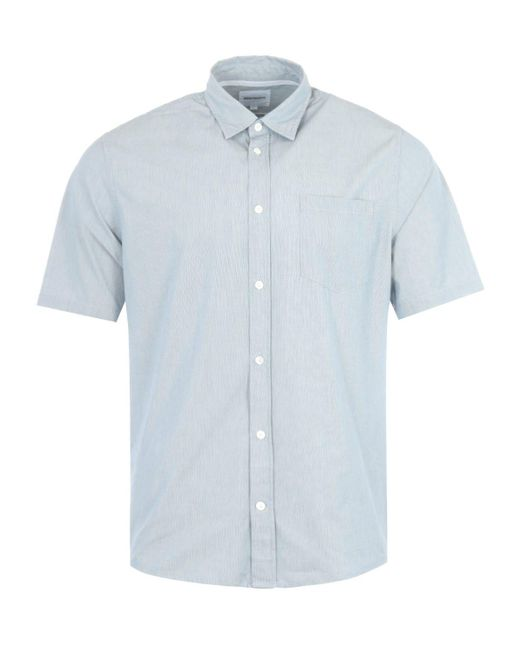 Norse Projects Osvald Stripe Short Sleeve Shirt - Blue for men