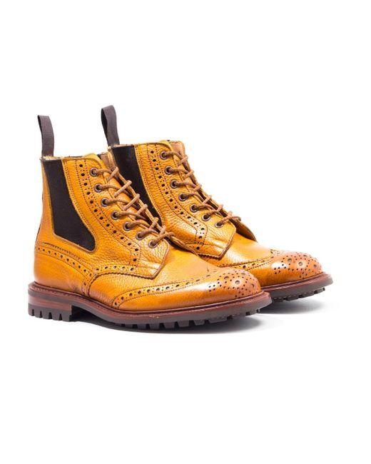 Tricker's Brown Tricker's Ellis Acorn Motorcycle Boots for men