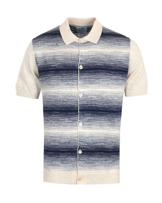 NN07 Nolan Knitted Short Sleeve Shirt - Beige & Blue for men