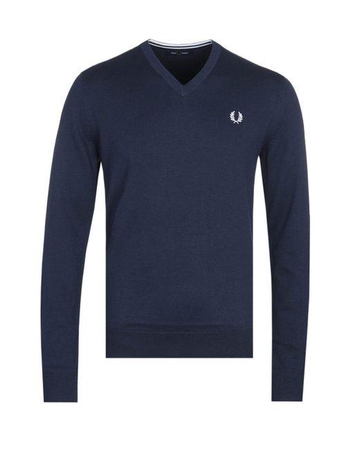 Fred Perry Blue V-neck Navy Sweater for men