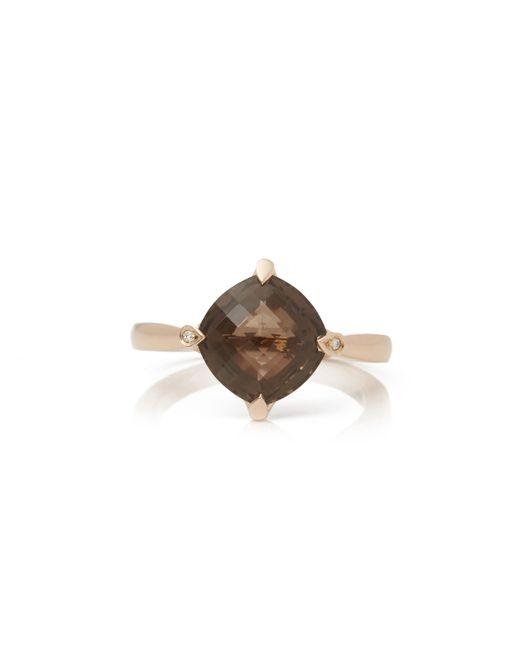 Cartier Metallic 18k Rose Gold Smoky Quartz Lotus Ring