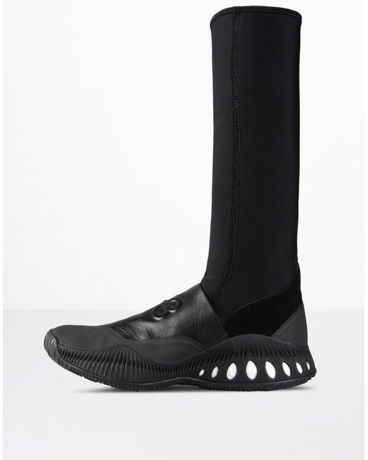 Y-3 | Black Faux Fur-lined Leather Boots | Lyst