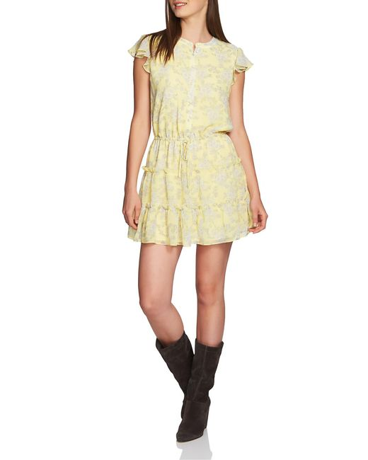 1.STATE Yellow Floral Print Tiered Ruffle Dress