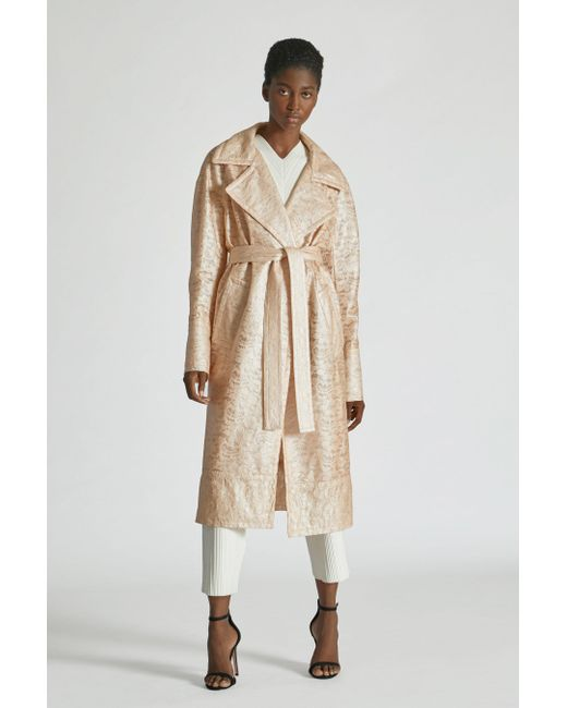 Yigal Azrouël Natural Laminated Lace Trench Coat