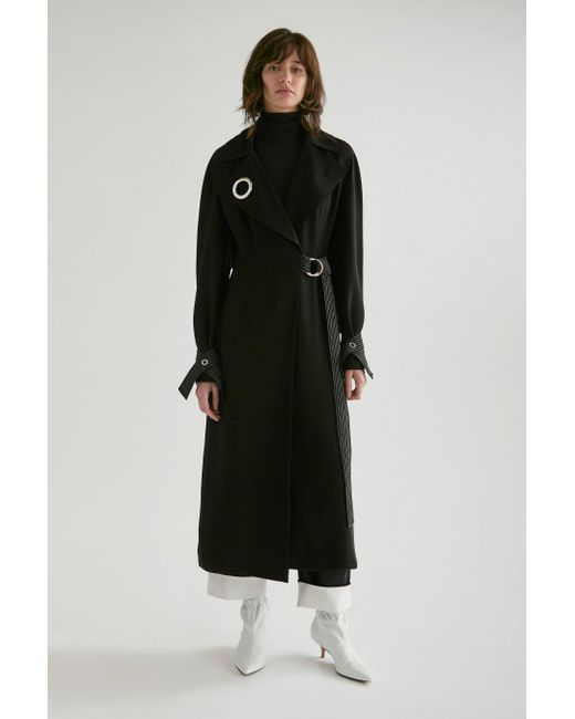 Yigal Azrouël - Black Draped Trench Coat - Lyst