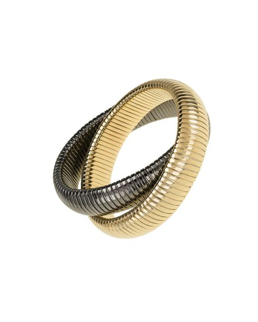 Janis Savitt - Metallic High Polished Gold And Gunmetal Double Cobra Bracelet - Lyst