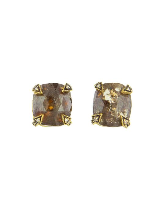 Cathy Waterman - Metallic Cushion Cut Rustic Diamond Blackened Thorn Stud Earrings - Lyst