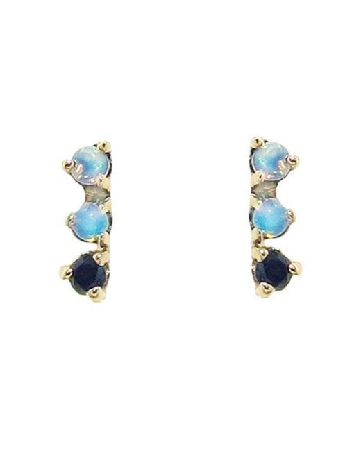 Wwake - Multicolor Three-step Opal And Black Diamond Stud Earrings - Lyst