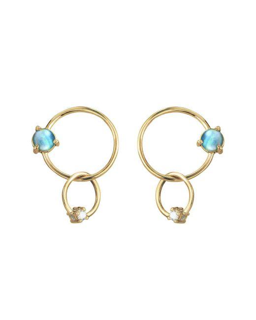Wwake - Metallic Double Circle Opal And Diamond Earrings - Lyst