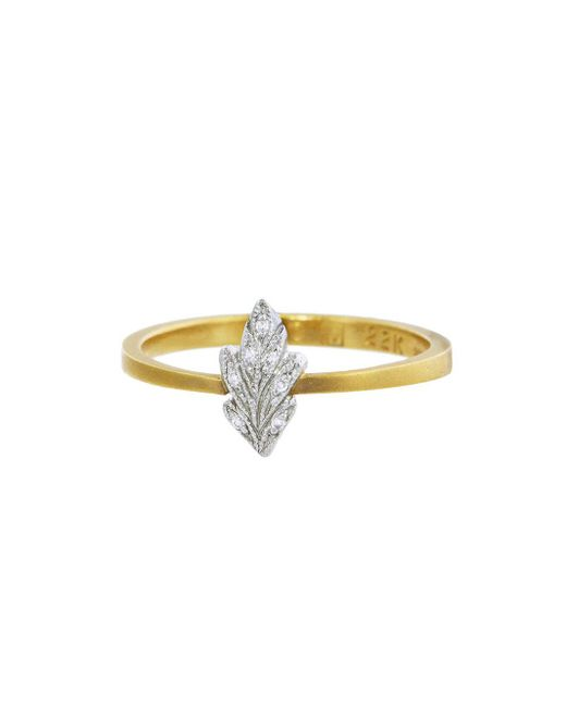 Cathy Waterman - Multicolor Diamond And Platinum Tiny Leaf Ring - Lyst