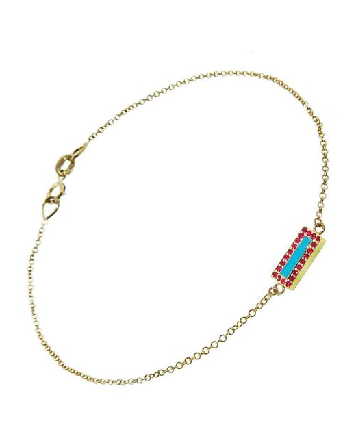 Jennifer Meyer - Multicolor Turquoise And Ruby Bar Inlay Bracelet - Lyst