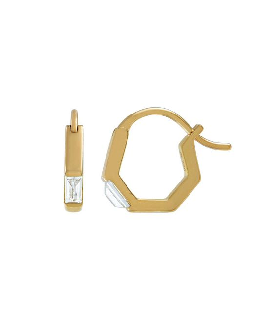 Raphaele Canot - Metallic Baguette Diamond Radical Chic Mini Hoop Earrings - Lyst