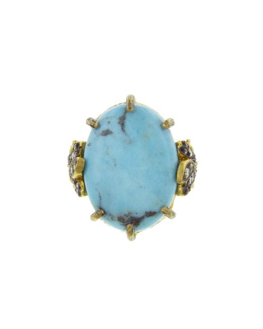 Cathy Waterman - Blue Kingman Turquoise Leaf Ring - Lyst