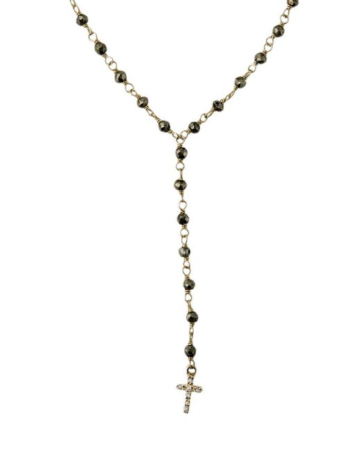 Jacquie Aiche - Metallic Pyrite Short Beaded Rosary Necklace - Lyst