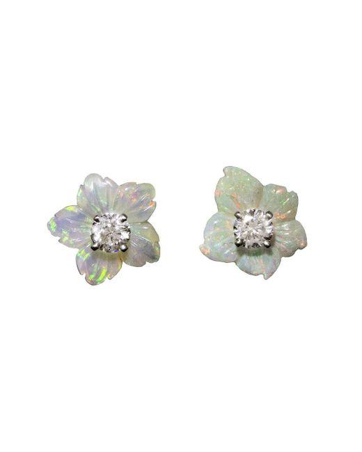 Irene Neuwirth One-of-a-kind White Opal And Diamond Flower Stud Earrings